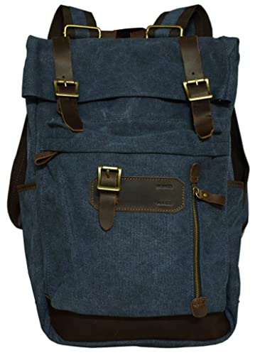 bc62d5da83 Amazon.com  Rustic City Leather and Canvas Dark Blue Backpack  Shoes
