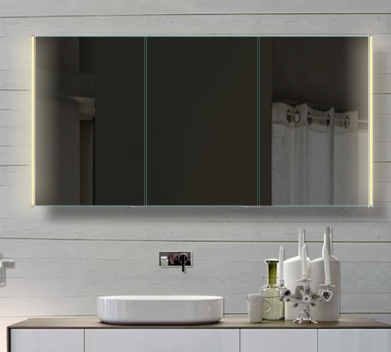 Geräumig Badezimmer Spiegelschrank Mit Beleuchtung Dekoration Von Led Lichtleitenden Acryl-streifen 140cm Hlc140h72 Neutural Bestellen