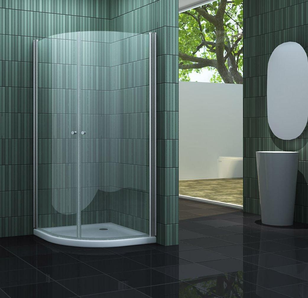 Duschkabine SCALLO 90 x 90 x 190 Viertelkreis ohne Duschtasse ...
