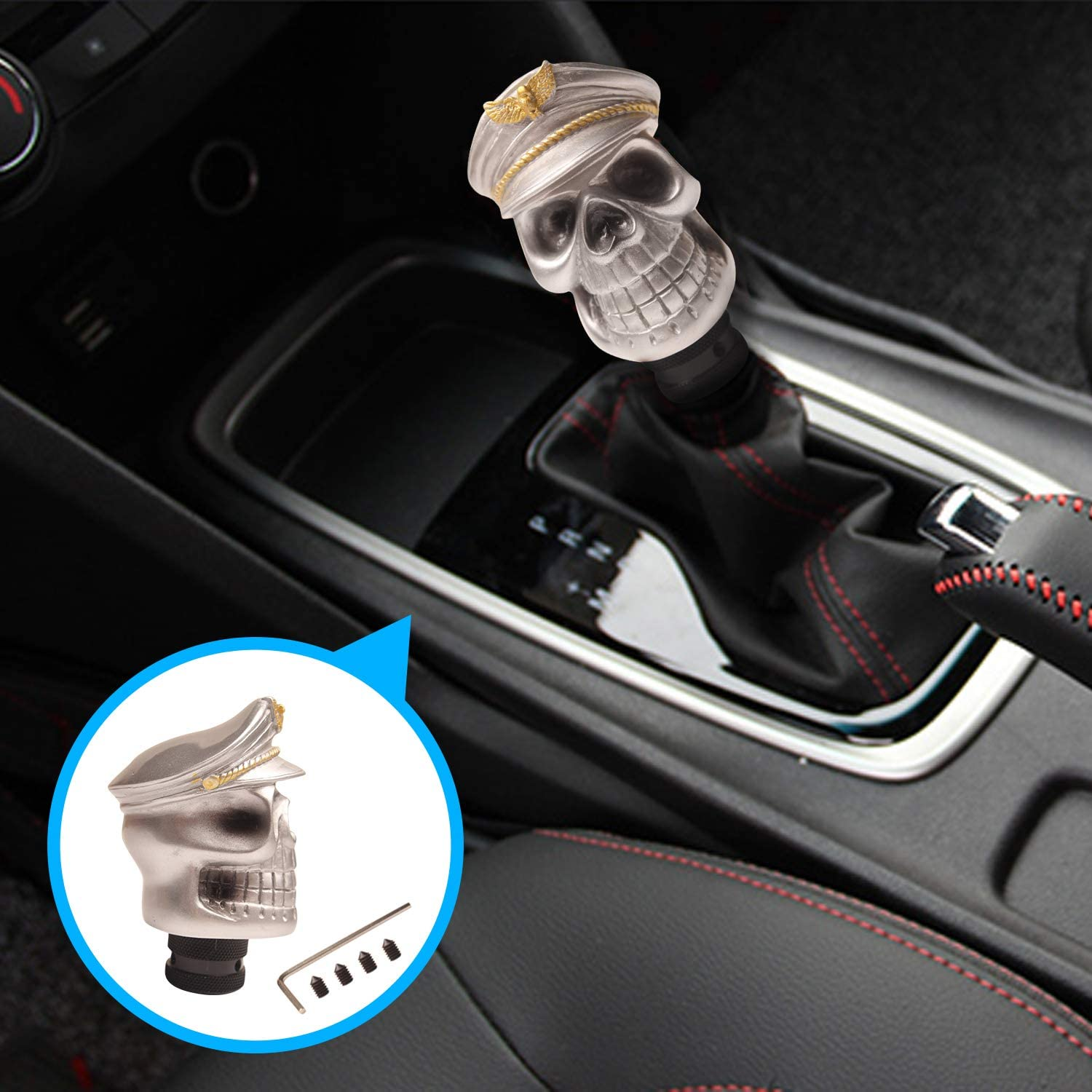 Pirate Skull Gearshift Lever Head Stick Handle Fits for Universal Automatic Manual Vehicle Monrand Gear Shift Lever Head Silver Hat