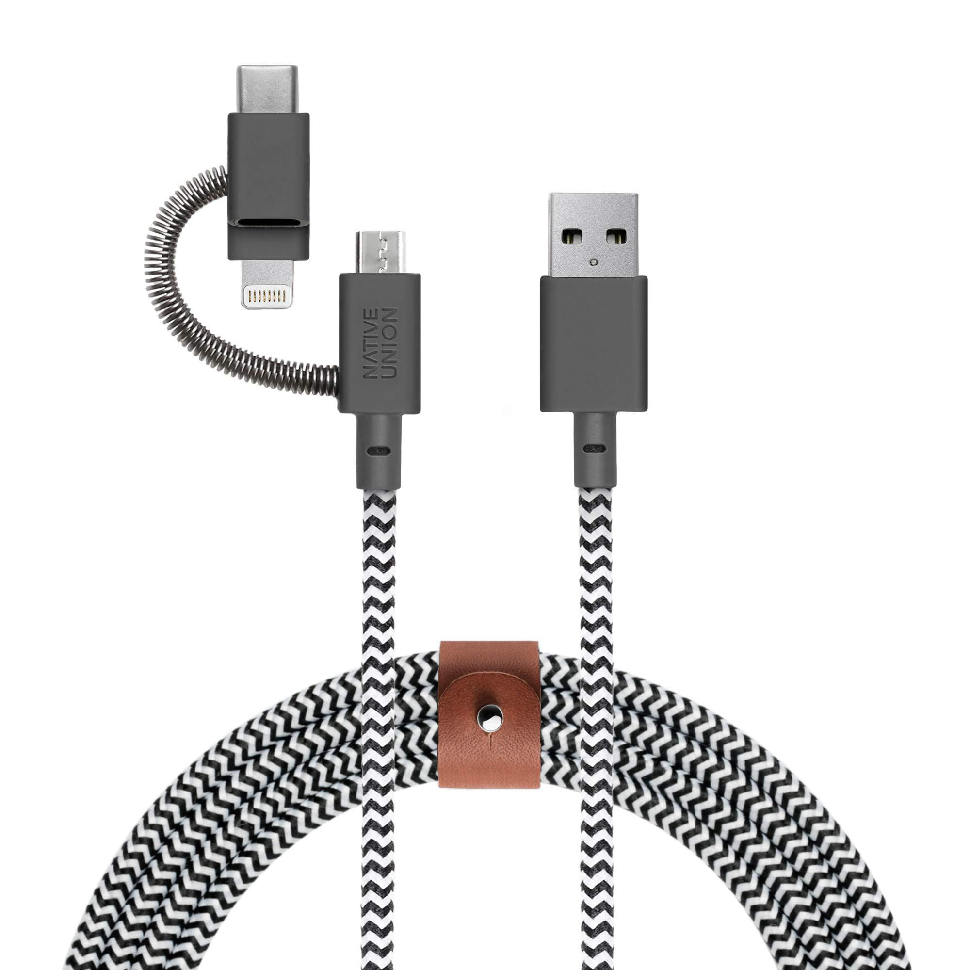 Native Union Belt Cable Universal - 6.5ft Ultra-Strong Reinforced [Apple MFi Certified] Durable Charging Cable with 3-in-1 Adaptor for Lightning, USB-C and Micro-USB Devices (Zebra) by Native Union