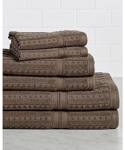 HomeCrate Nápoles 100% algodón 6 piezas Juego de toallas, calidad de hotel, Super