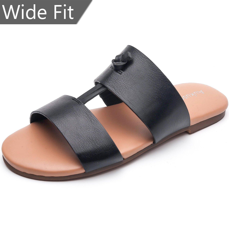 Aukusor Women's Wide Width Flat Sandals - Slip On Slide Summer Shoes Two Bands Memory Foam Insole (180111 Black,11WW)