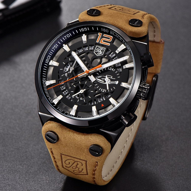 Amazon.com: Mens Watches BENYAR Fashion Business Quartz Waterproof Watch-Leather Watch Date Display (Black,Orange): Watches