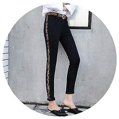 c6acef6cf161 Women Pants Denim Skinny Mom Jeans with Stripes Woman High Waist Leopard  Print Jeans for Women