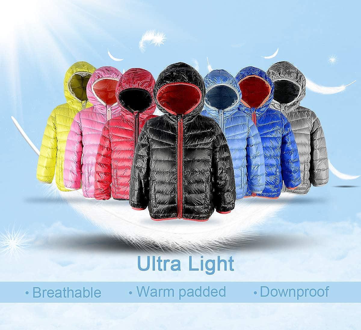 Zando Boys Kids Quilted Packable Down Coat Light Weight Windproof Outwear Children Warm Puffer Jacket Hood