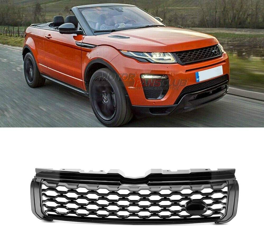 MotorFansClub Front Grille Fit For Compatible With Range Rover Evoque 2012-2018 Gloss Black Front Grill Dynamic 1EDA