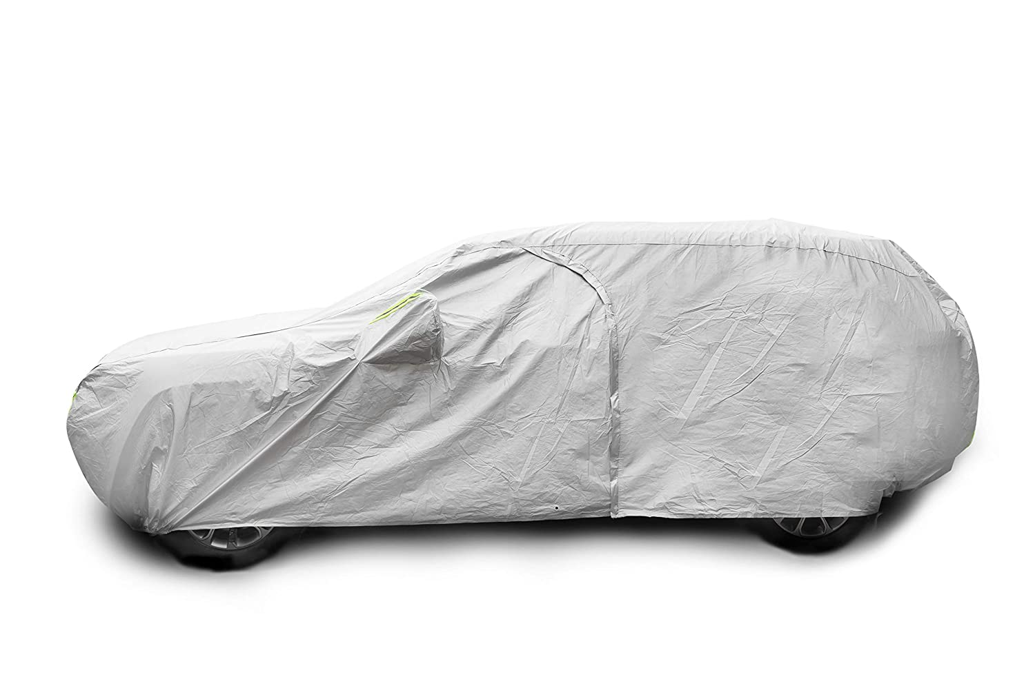 Tecoom Breathable Material Door Shape Zipper Design Waterproof UV-Proof Windproof Car Cover with Storage and Lock for All Weather Indoor Outdoor Fit 196-210 inches SUV