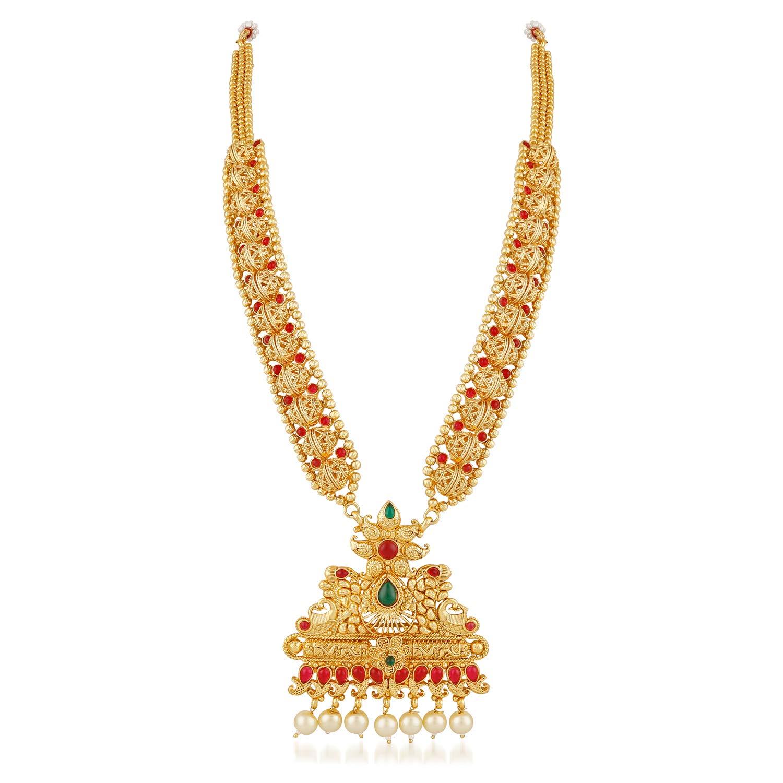 Buy Vareeca South Indian Traditional Long Haram Copper Mala Gold