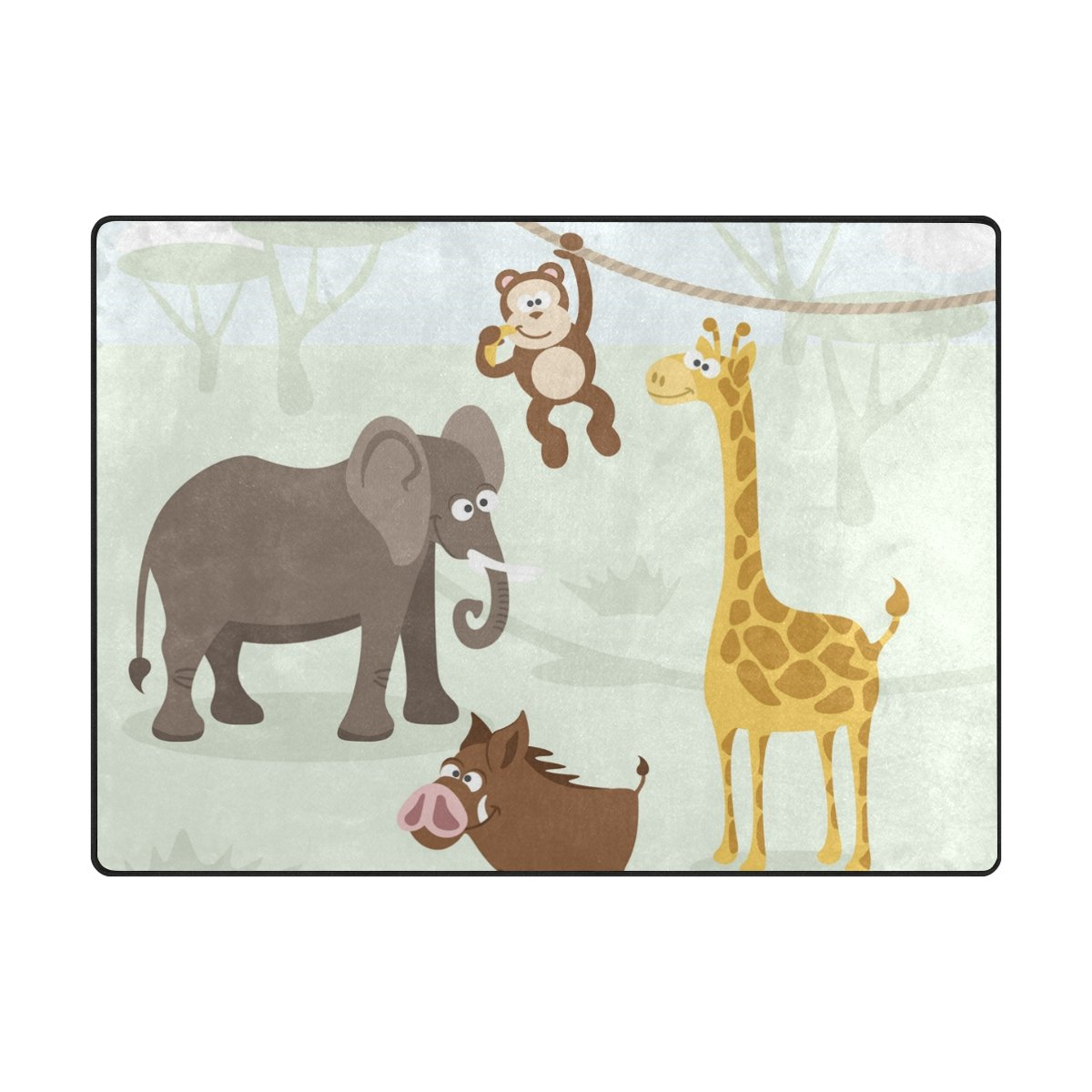 Vantaso Soft Foam Area Rugs Forest Animals Elephant Monkey Non Slip Play Mats for Kids Boys Girls Playing Room Living Room 80x58 inch