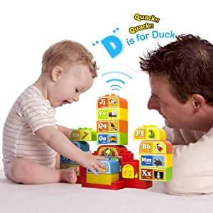 Talking ABC Blocks Alphabet Learning - Plastic Blocks with Audio. for 18 Months and Up
