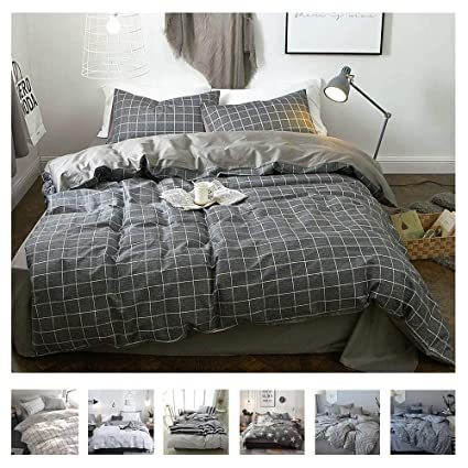 5270230c1912 VClife Cotton Duvet Cover Gray Bedding Sets Queen/Full Lightweight Soft 3  Pieces Reversible Checkered