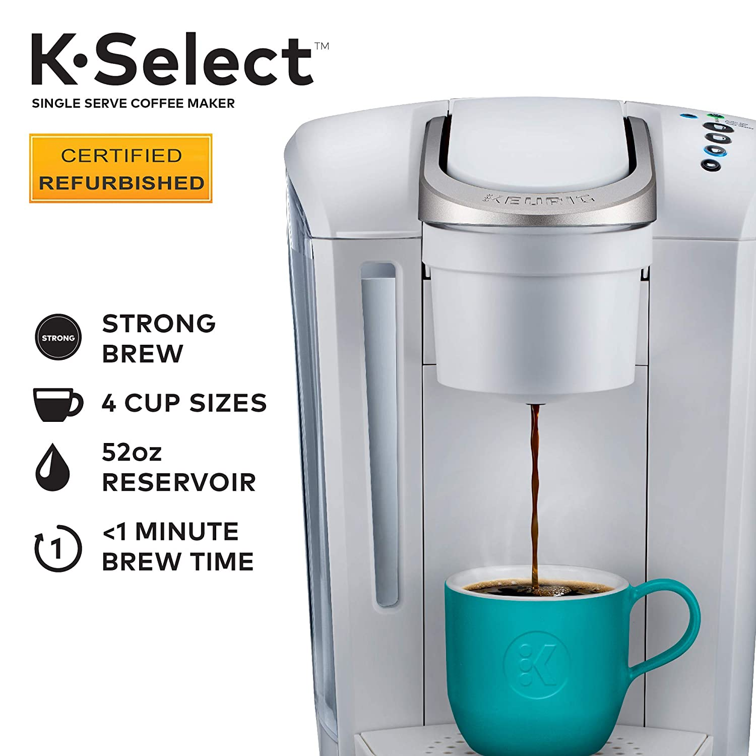 Keurig K-Select Certified Refurbished Coffee Maker, Single Serve K-Cup Pod Coffee Brewer, With Strength Control and Hot Water On Demand, Matte White