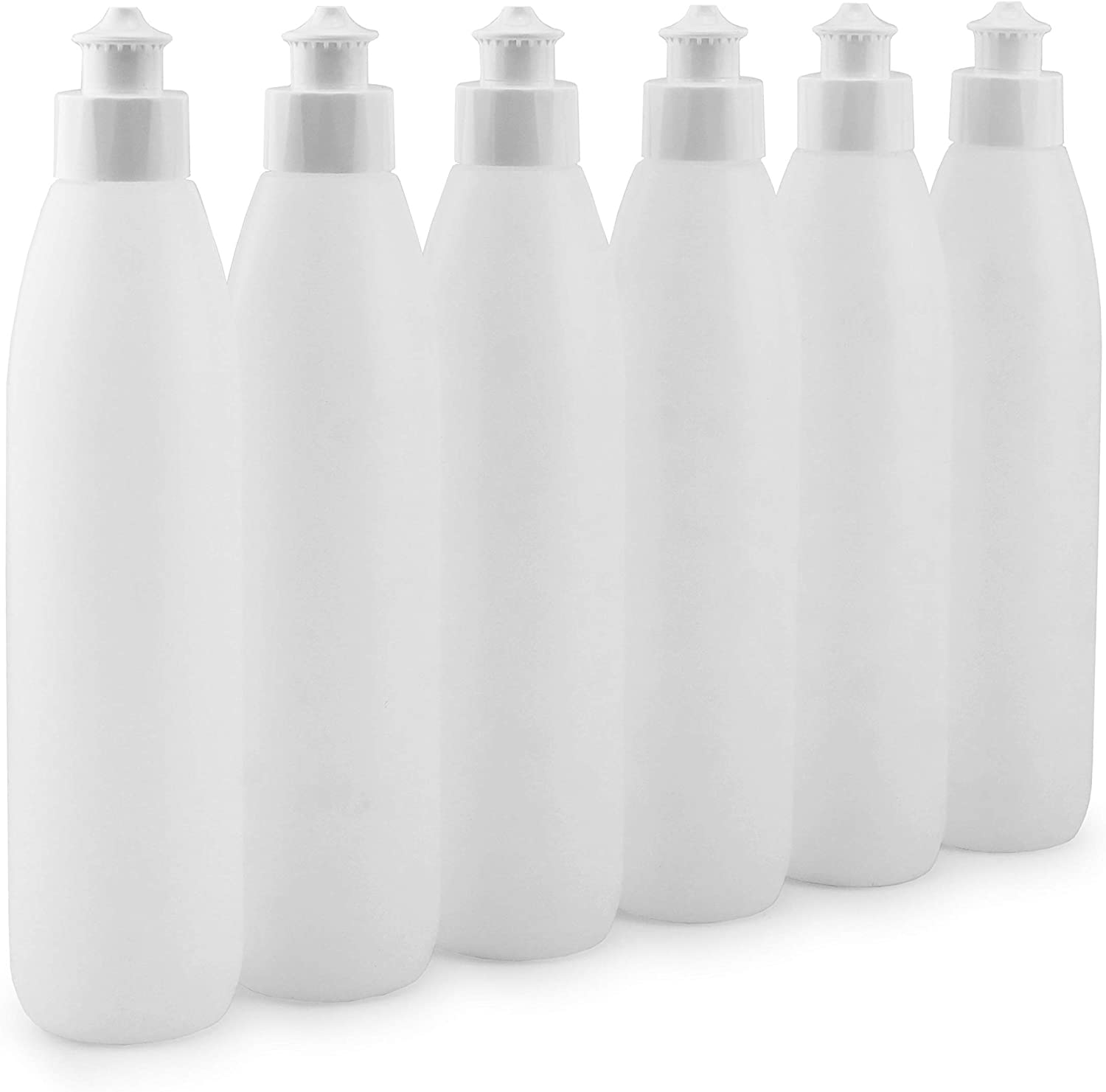 Cornucopia 8-Ounce Squeeze Bottles for Dish Soap and Sauces (6-Pack); Push Pull Cap Dispenser HDPE Squirt Bottles Ideal Soap Dispensers, Condiment Squirt Bottles or Personal Hygiene, BPA-Free