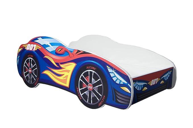 Alcube GmbH | Kinderbett Auto-Bett Pkw Burning Flame | 140 x 70 cm | Lattenrost und Matratze | MDF beschichtet