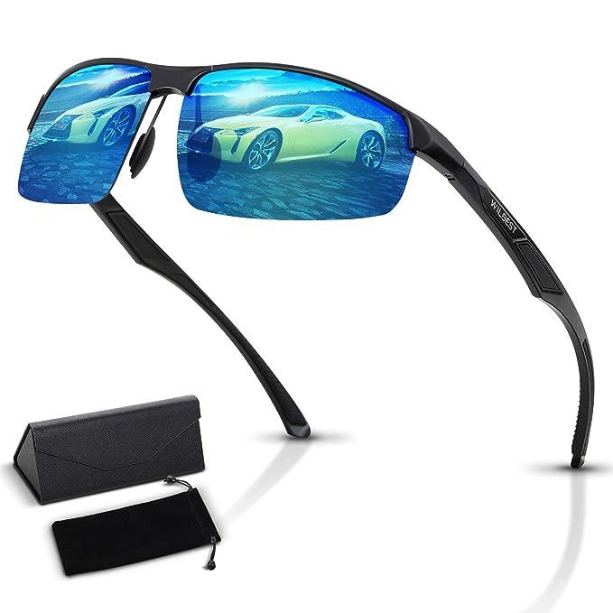 WILBEST Gafas de Sol Polarizadas, Al-Mg Marco de Aleación de Metal Súper Ligero, UV400 Protección Radiación Gafas para Deportes Aire Libre, Ciclismo ...