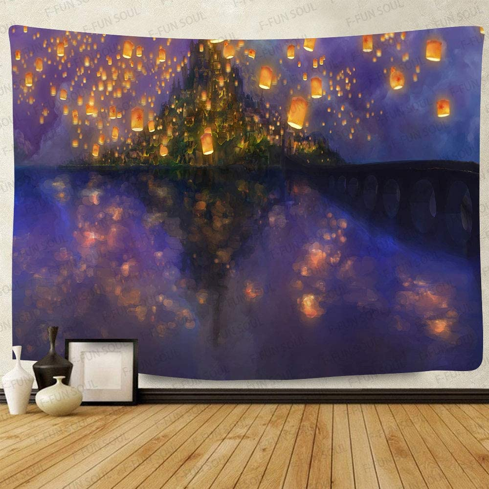 Night Castle Tapestry, Large 80x60inchs Soft Cotton, Cartoon Castle lantern Fuzzy Pattern Wall Hanging Tapestries for Bedroom Living Room Decor DSFS761