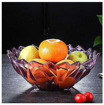 MWG Plato de Frutas Sala de Estar Plato de Dulces Hogar Plato de nueces Melón Grande Frutero Plato de Frutos Secos Plato de Melones (Color : Purple): ...