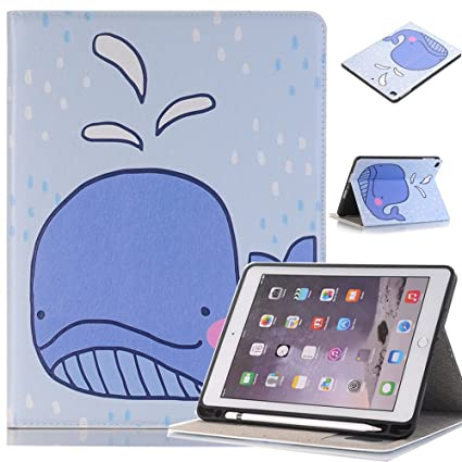 competitive price b30a1 91ee8 JiiJian iPad Air Protective Cases,iPad 9.7Inch Case,Cute Cartoon PU Leather  Stand,Smart Protective Casefor Apple iPad - Dolphin