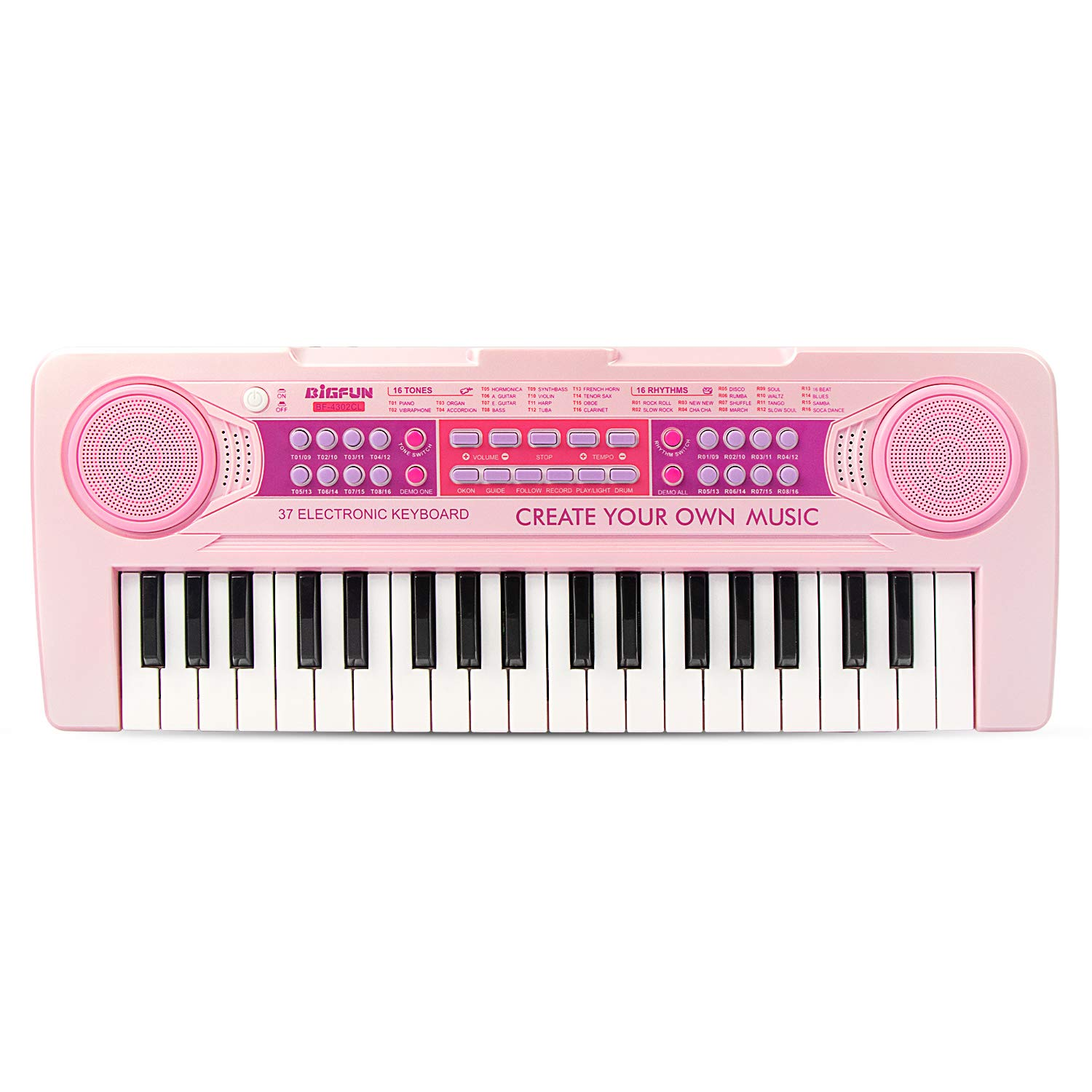BIGFUN 37 Keys Multifunction Recharging Portable Electronic Kids Piano Musical Teaching Keyboard for Kids Children Early Learning Educational Toy with Double Speakers (Pink)