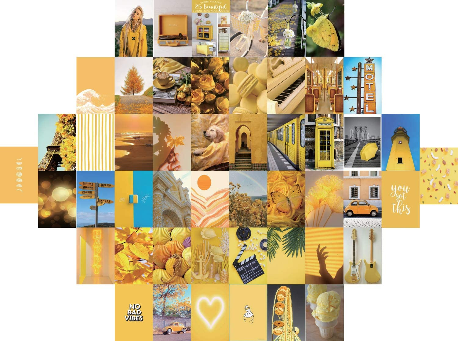 Yellow Wall Collage Kit Aesthetic Pictures, Bedroom Decor For Teen, Aesthetic Posters, Wall Collage Kit For Girls Young Adults' Bedroom Decor, Bohemia Dorm Wall Décor Collage Kit(50PCS 4x6inch )