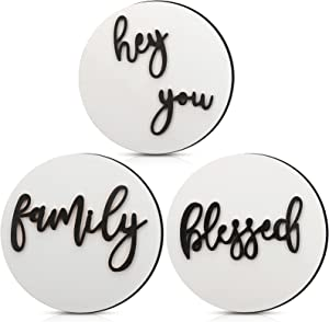 3 Pieces Blessed Family Hey You Wooden Signs Rustic Farmhouse Round 3D Signs Tiered Tray Decor Wooden Home Signs Shelf Stand Display for Home Wall Decor