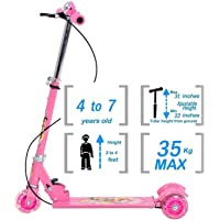 Sufi World ® 3-Wheel Height Adjustable Folding Kick Kids Scooty Scooter Tricycle for Indoor & Outdoor Fun with with Brake, Bell, LED and Adjustable Height for Kids (2.5-10 Years,)