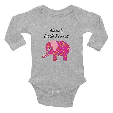 60e296865aaa Amazon.com  Cute Baby Onesies Nana Pink Elephant Infant Long Sleeve  Bodysuit  Clothing
