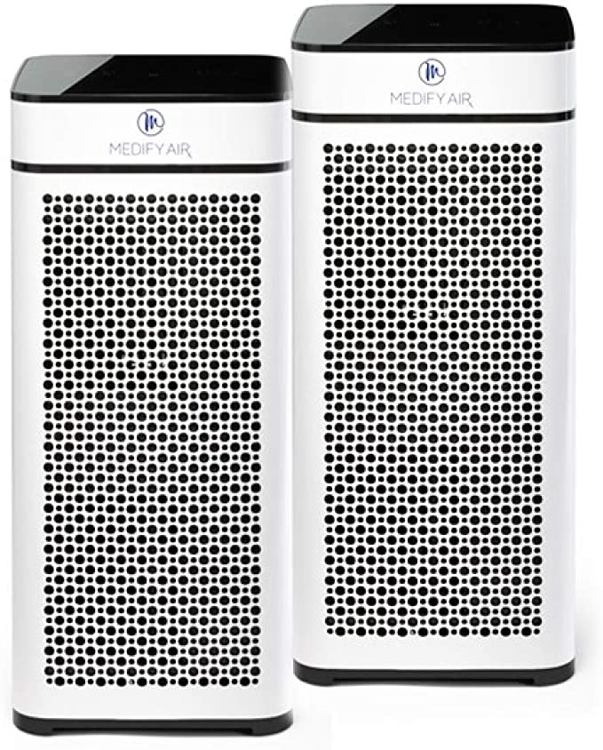 Medify MA-40W2 V2.0 Medical Grade Filtration H13 True HEPA for 840 Sq. Ft. Air Purifier, 99.97% | Modern Design - White (2-Pack)