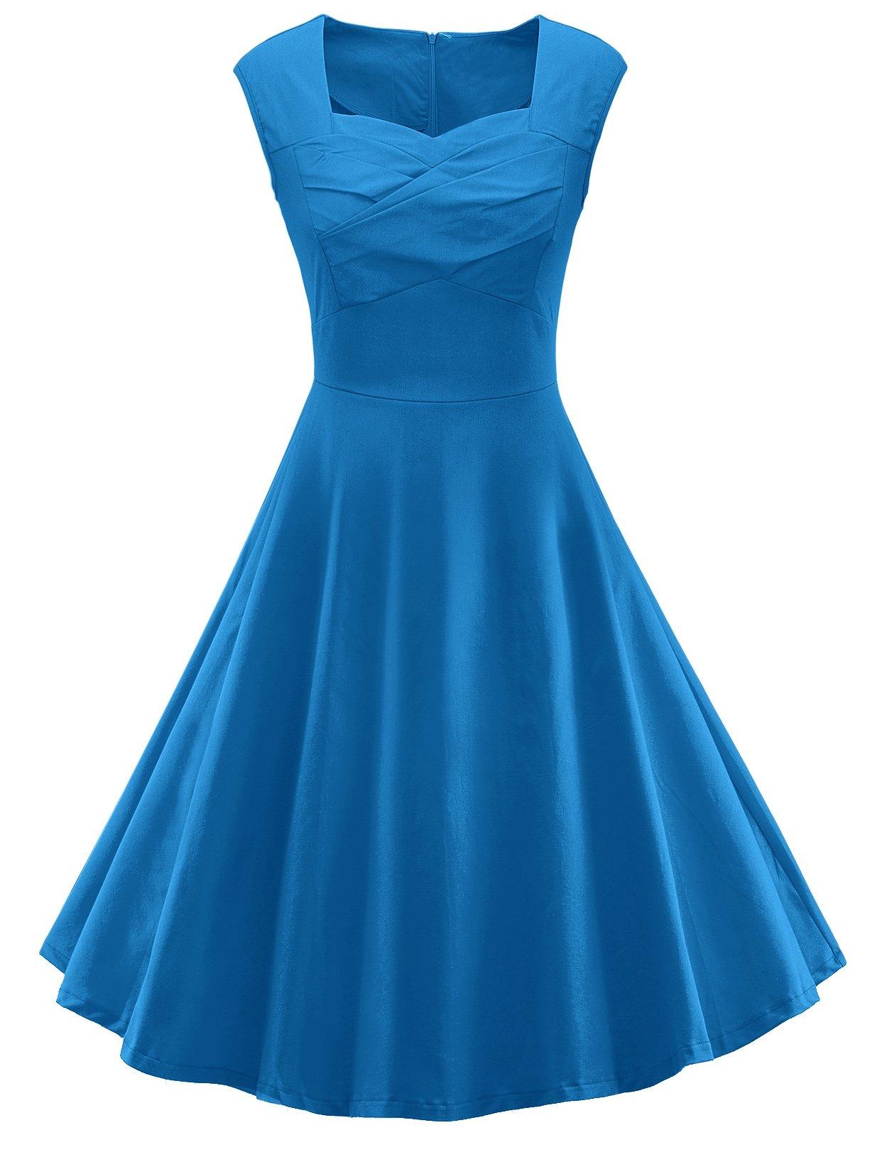 V fashion Women 1950s Style Retro Cap Sleeve Garden Party Vintage Swing Dress, Blue 2XL