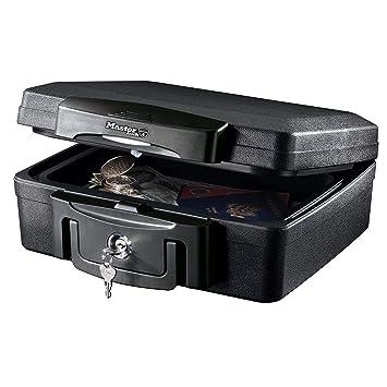 Master Lock H0100EURHRO Caja Fuerte Portatil Ignifuga y Impermeable con Llave Small Adecuada para Documentos, Dispositivos Electrónicos, Soporte Multimedia, Pequeños: Amazon.es: Bricolaje y herramientas