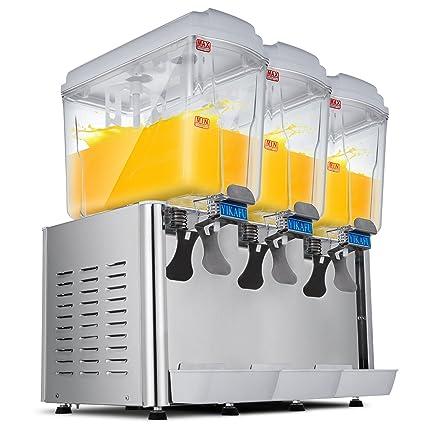 Moracle Dispensador de Bebidas Frías de Zumo 54L Dispensador de Jugo Caliente y Fría para Bebidas Comerciales 380W Dispensador de bebidas 3x18L: Amazon.es: ...