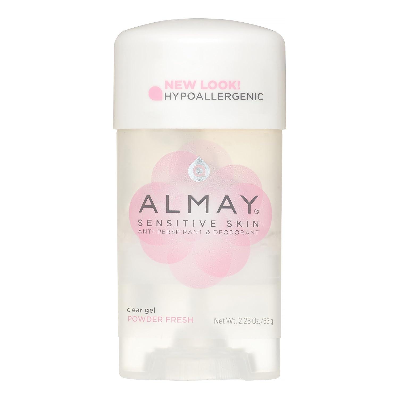 Almay Sensitive Skin Clear Gel Antiperspirant & Deodorant, Powder Fresh 2.25 oz (Pack of 12)