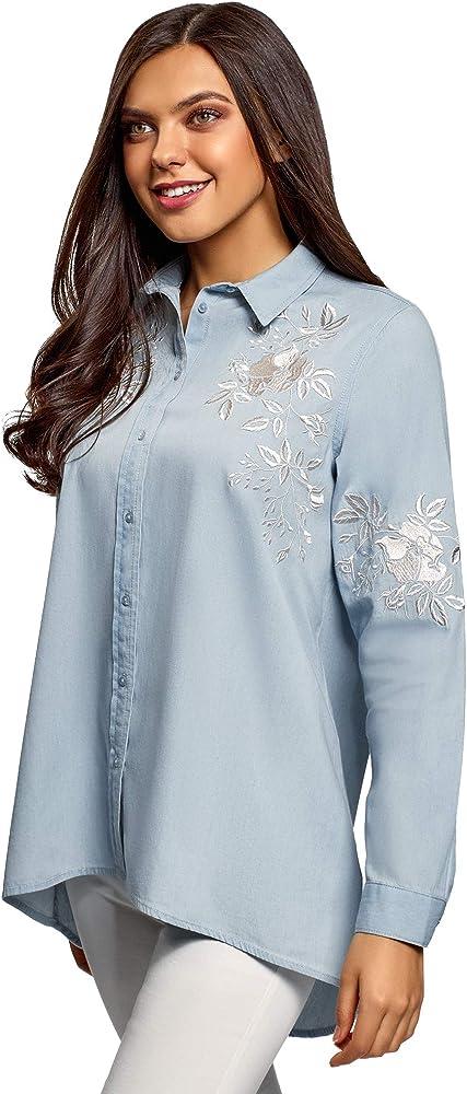 oodji Ultra Mujer Camisa Vaquera con Bordado, Azul, ES 36 / XS: Amazon.es: Ropa y accesorios