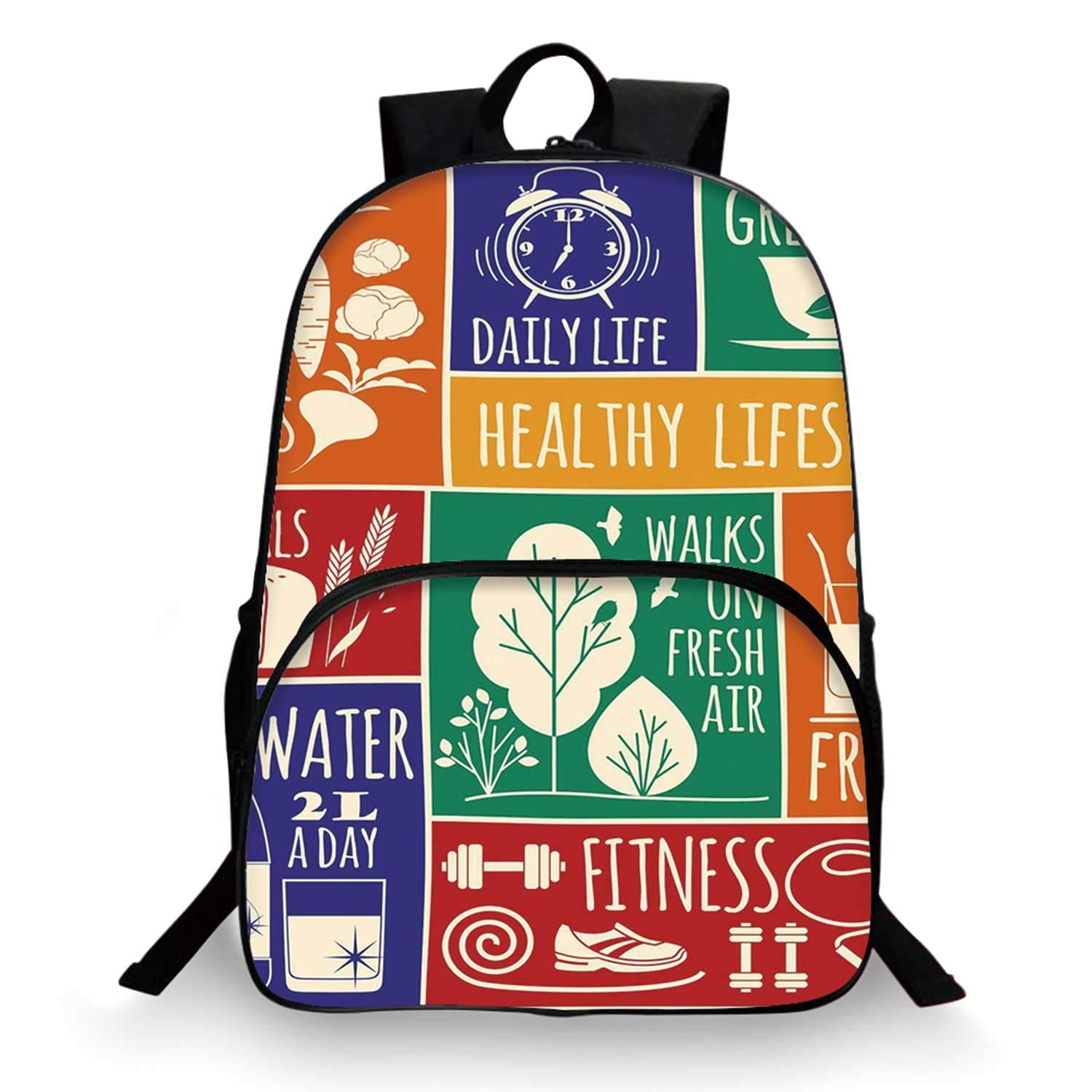 Fitness Various Schoolbag,Collage of Different Colorful Frames with Motivational Signs Vegetables Exercise Decorative for student,11''Lx6''Wx15''H by C COABALLA