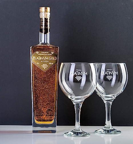 pack ron dominicano Platinvm Gold con dos copas