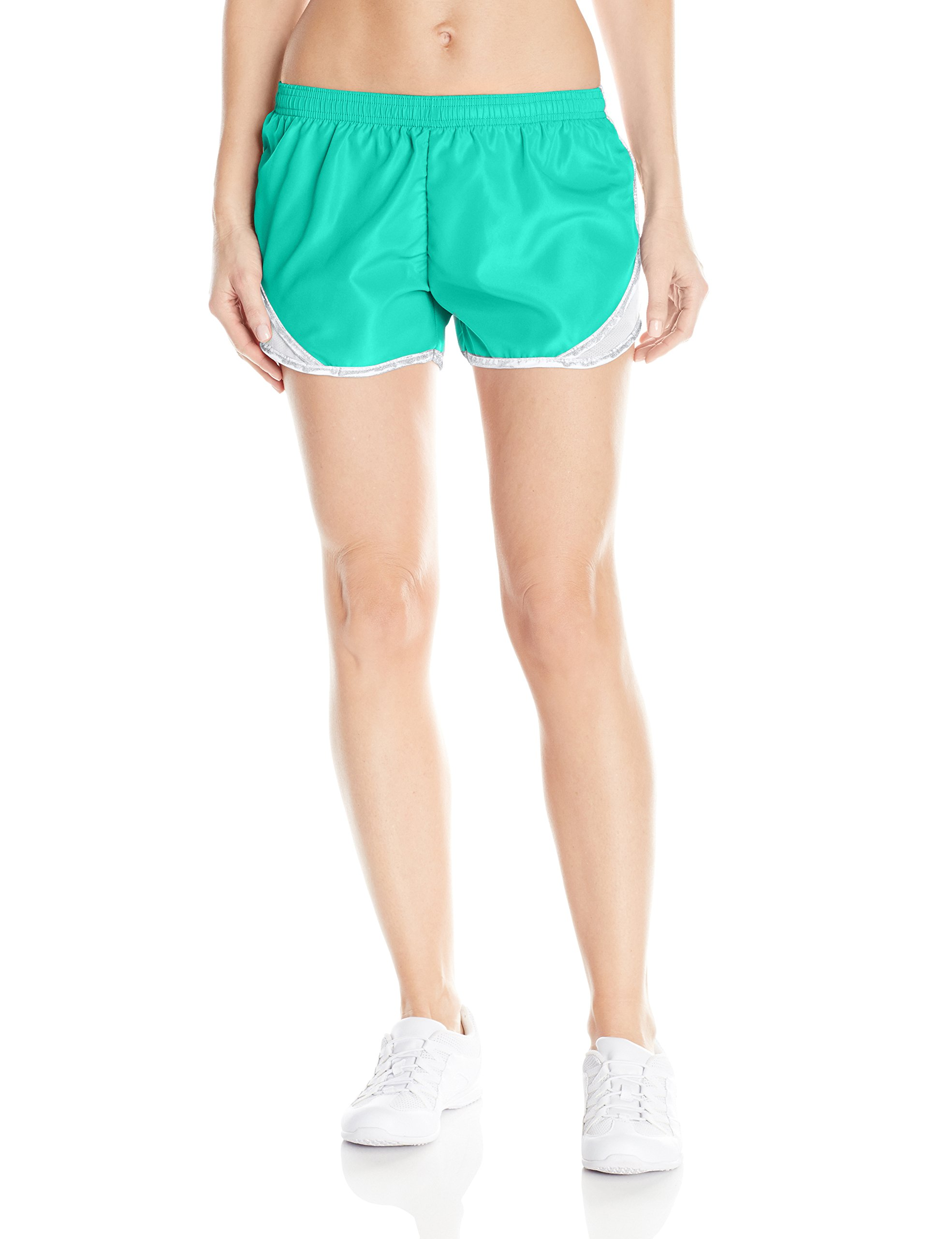Soffe Women's Juniors' Team Shorty Shorts, Pool Blue/White/Silver, Large by Soffe