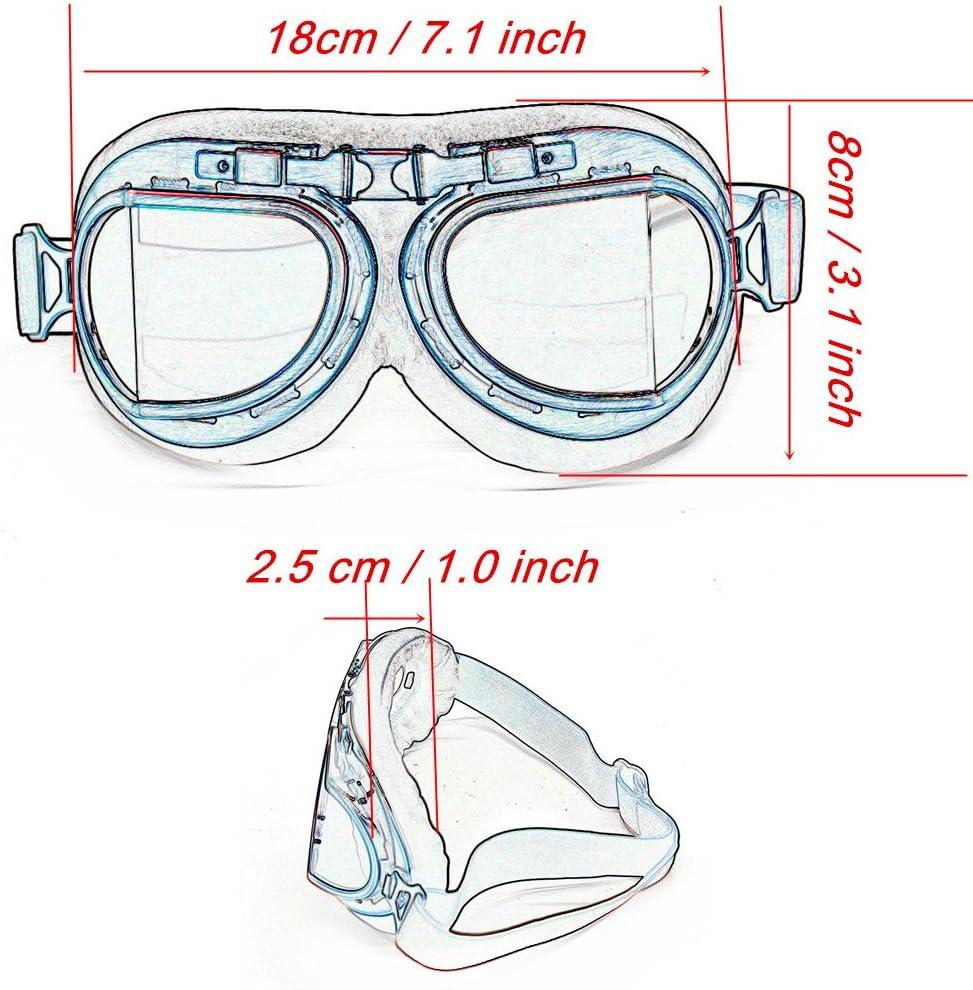 LILSIS Retro Motorcycle Goggles Vintage Moto Classic Pilot Glasses for Harley ATV Bike Copper Helmet