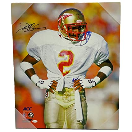 91a1abfb8 Image Unavailable. Image not available for. Color  Deion Sanders Florida  State Seminoles Autographed Signed Canvas Hands on Hips - JSA Certified  Authentic