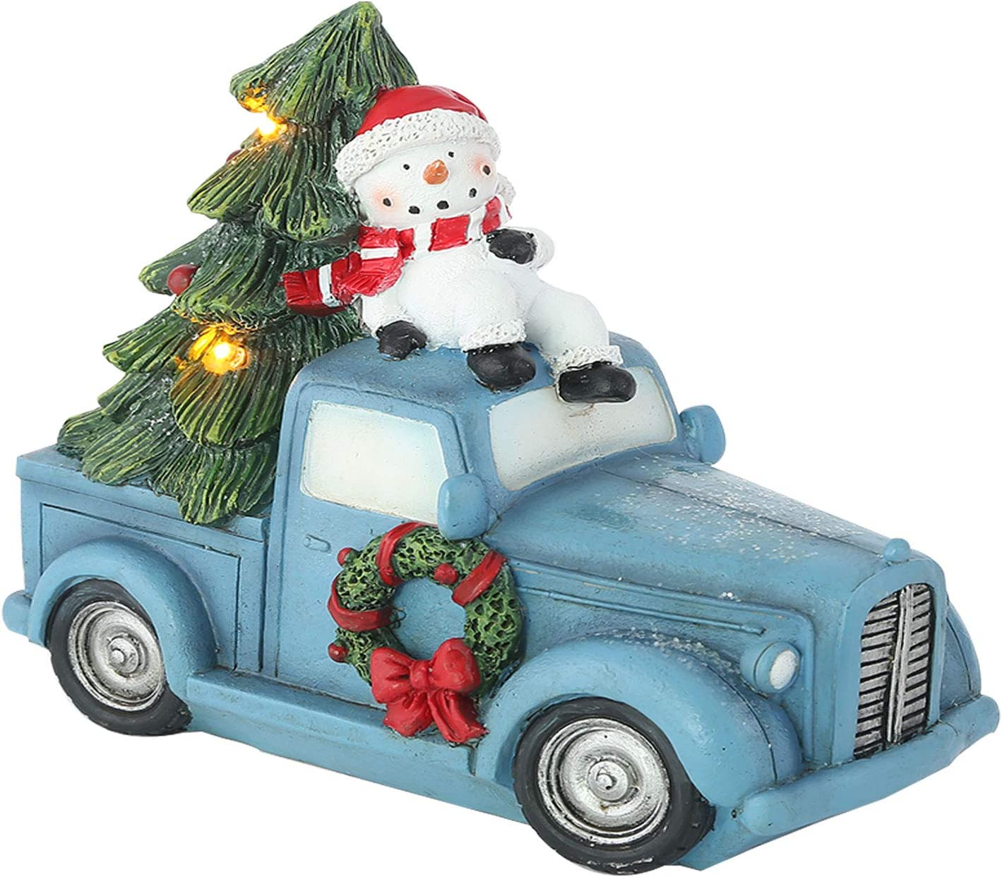 TZSSP Lighted Decorations Tree and Vintage Truck - Tabletop Decor and Christmas Tree Lights Blue Red Pick Up Truck Snowman in Car Figurine
