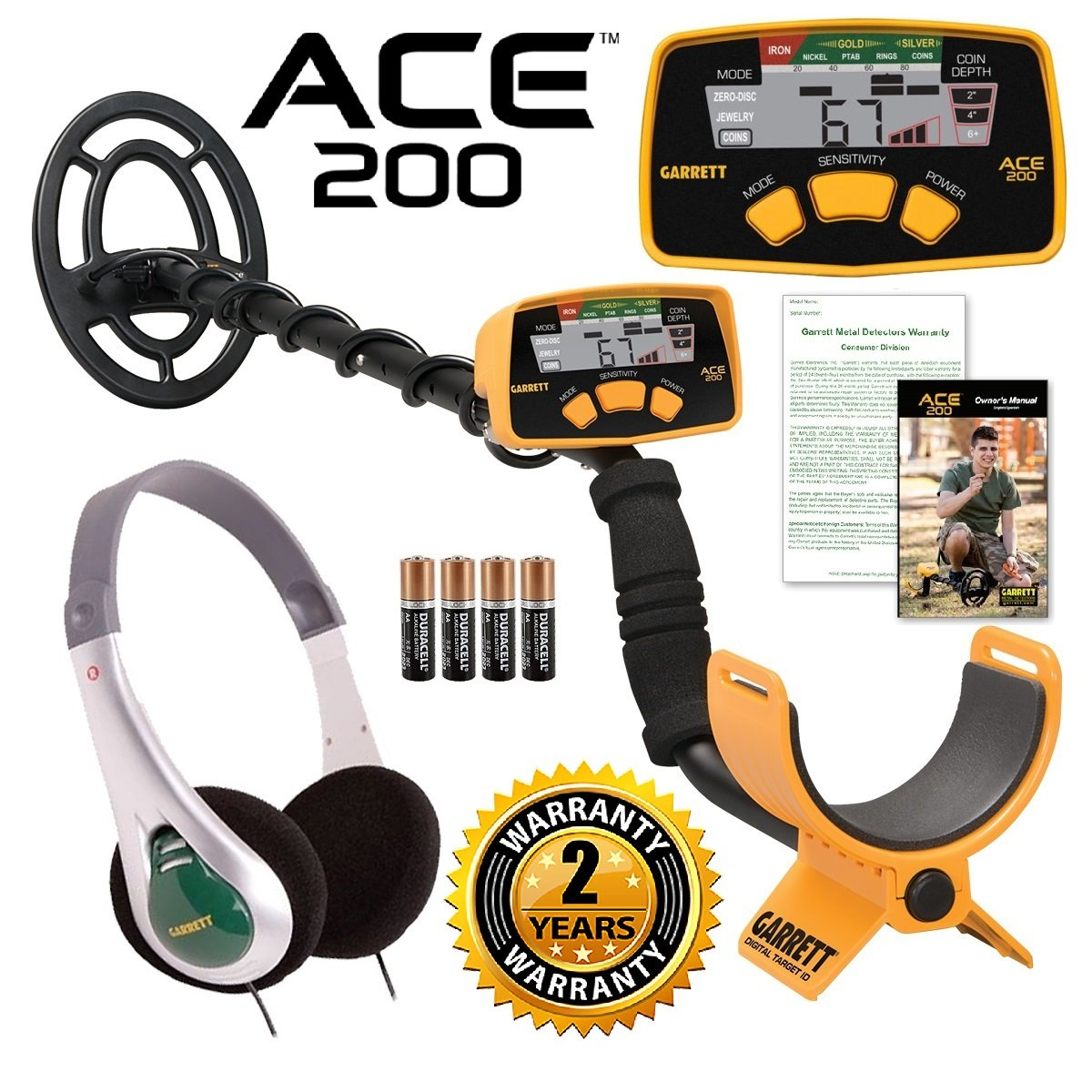 Garrett ACE 200 Metal Detector with Waterproof Search Coil and Treasure Sound Headphone by Jestik