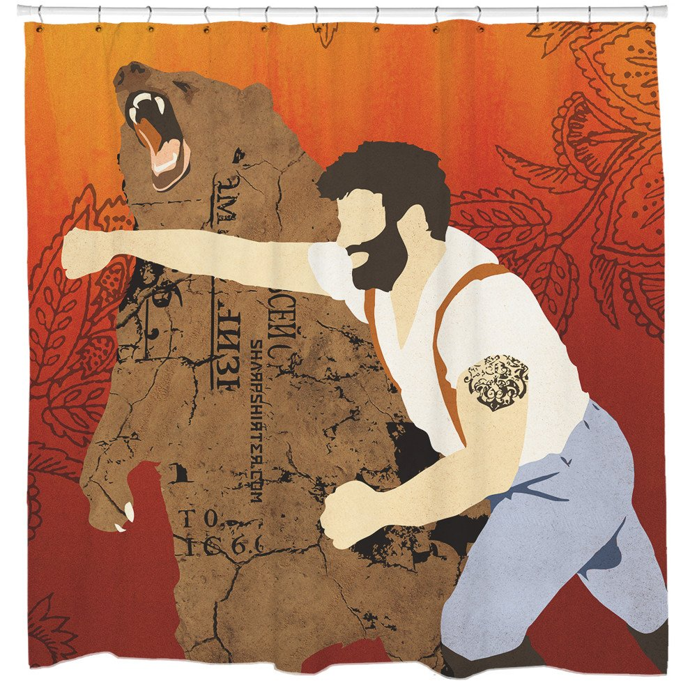 Lumberjack Punching Bear Cool Shower Curtain Waterproof Red and Black 12 Hooks Included