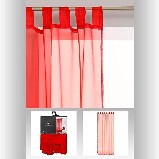 lot de 2 rideaux voilage à pattes prêt à poser 140 x 240cm