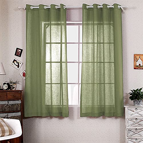 R.LANG Solid Grommet Top Faux Linen Window Panels for Livingroom 1 Pair Light Olive 52 W X 96 L Set of 2 Panels
