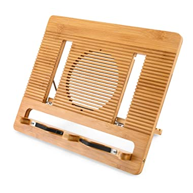 Book Stand NNEWVANTE Portable Recipe Book Holder Adjustable Desktop Cook Book Stand with 6 Angles, Bamboo Hollow Out Stand for Book, Textbook, iPad, Mac Tablet