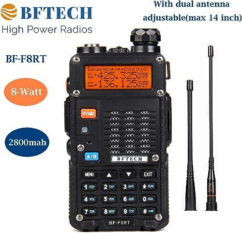 BFTECH BF-F8RT BF-F8 3rd Gen 8-Watt Dual Band Two-Way Radio 2800mAh Battery 136-174Mhz VHF 400-520Mhz UHF High Gain NA-772R Stretchable Antenna