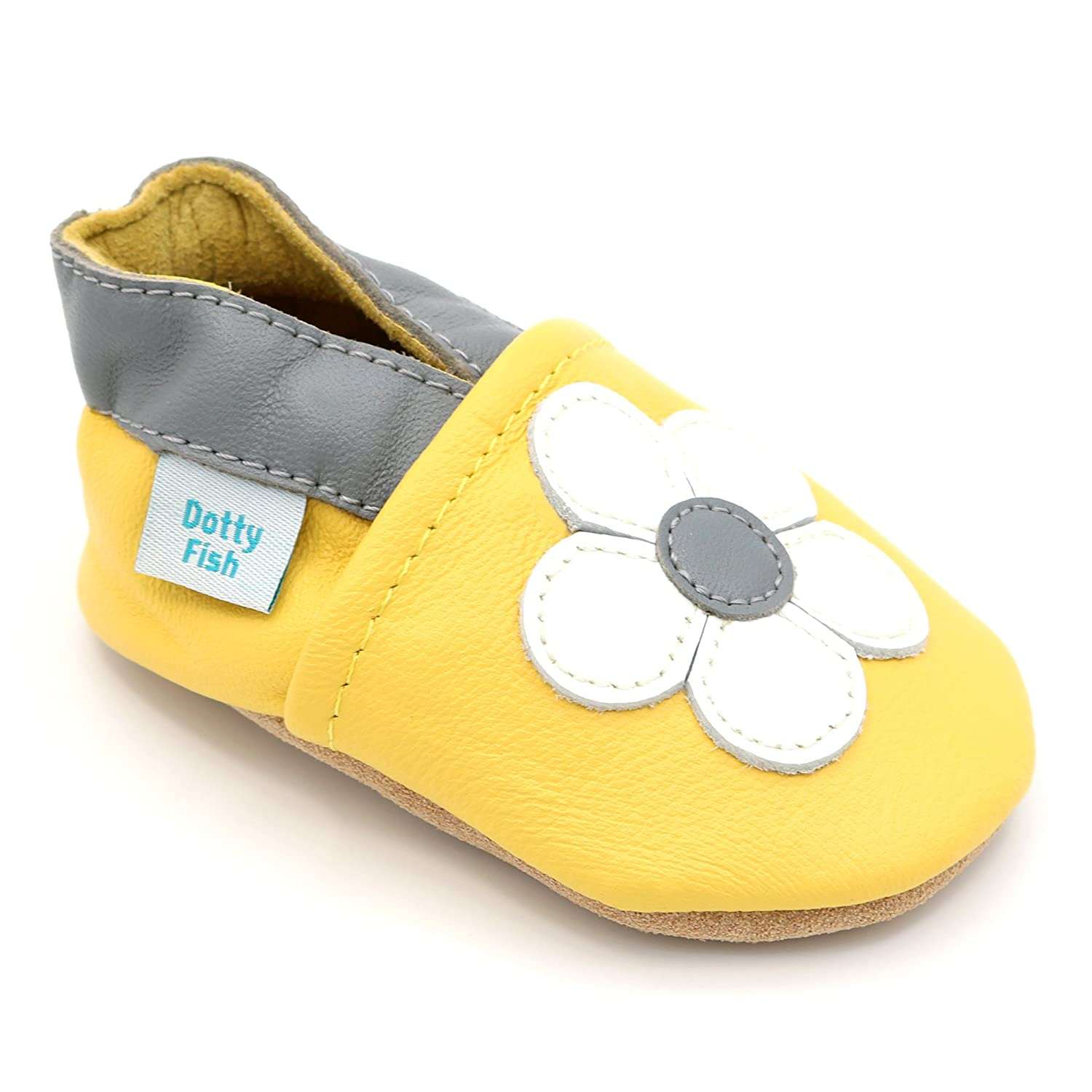 Dotty Fish Soft Leather Baby Shoes with Non Slip Suede Soles. Toddler Shoes. Animals, Flowers and Pretty Designs for Girls. Newborn to 4-5 Years ML2-$P