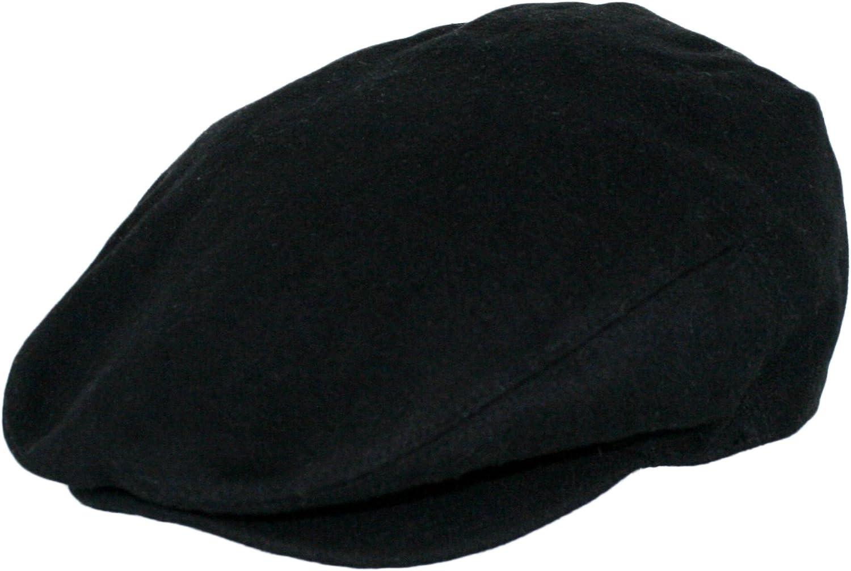 EPOCH Hats Men's Premium Wool Blend Classic Flat Ivy Newsboy Collection Hat (Large, Black)