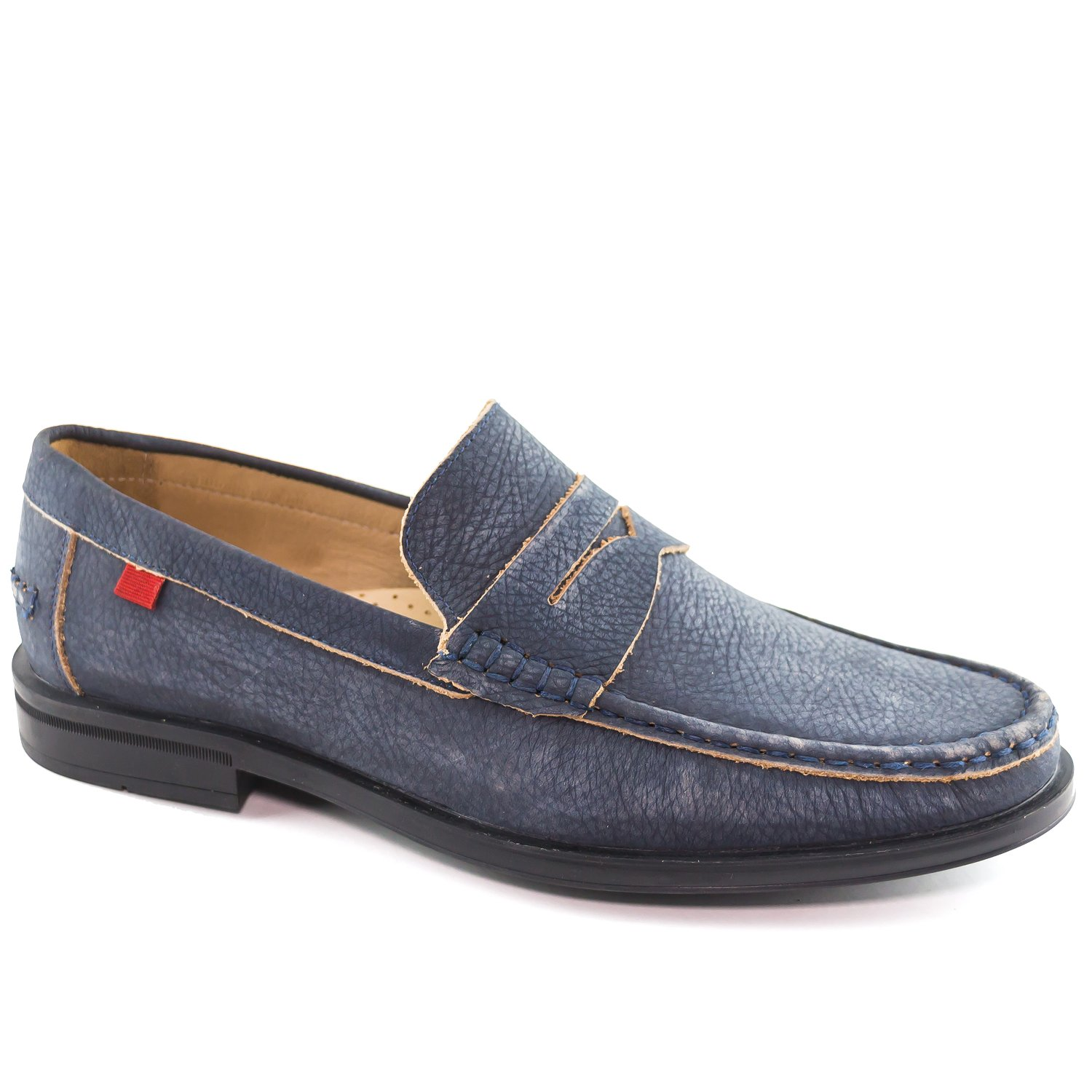Mens Genuine Leather Made In Brazil Cortland Street Venetian Navy Vintage Leather Loafer Marc Joseph NY Fashion Shoes 12