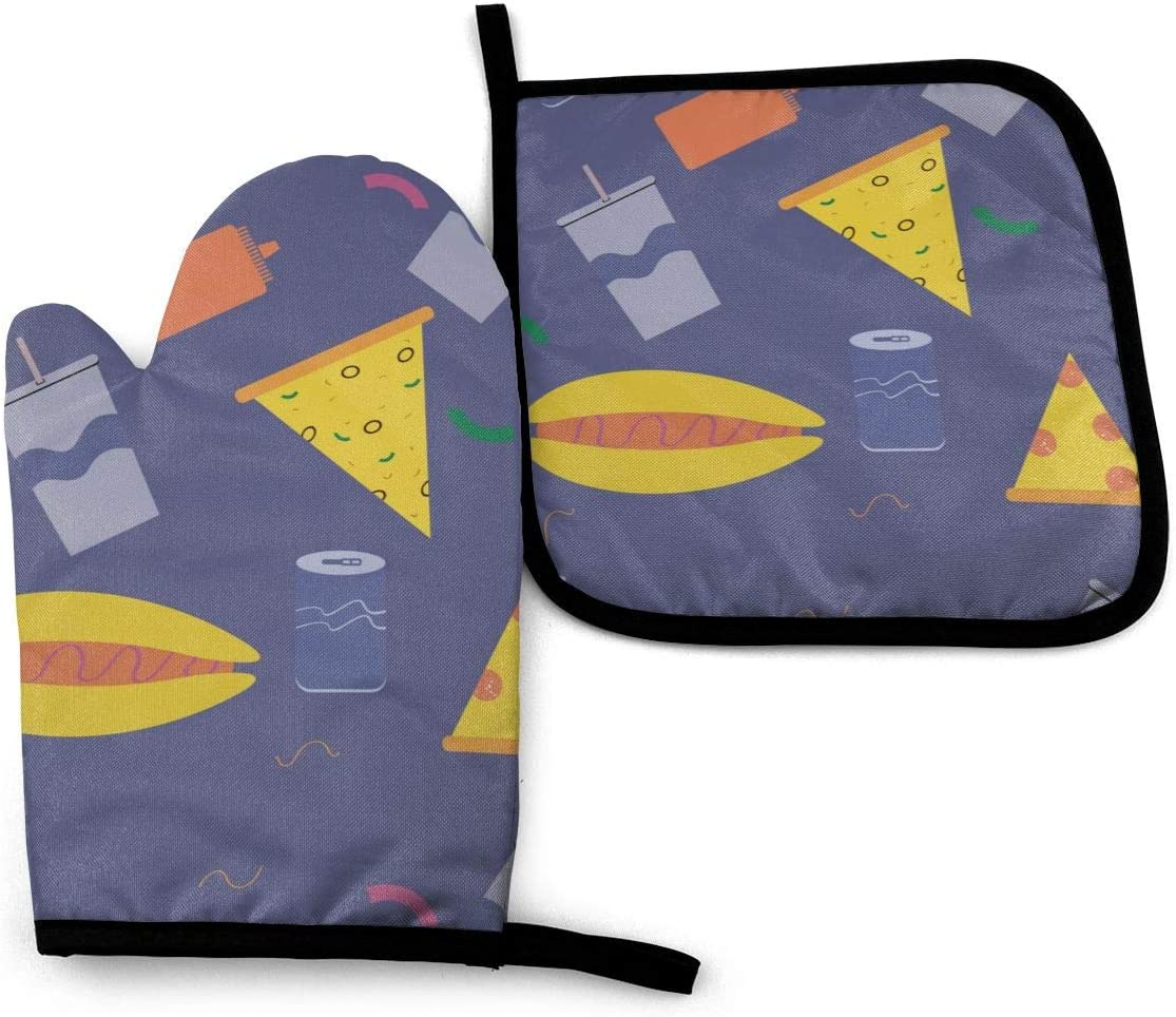 Oven Glove and Pot Cover Oven Mitts and Pot Holders Sets Fast Food Clip Art Heat Insulation Blanket Mat Baking Pizza Barbecue Accessories Home Kitchen Decor